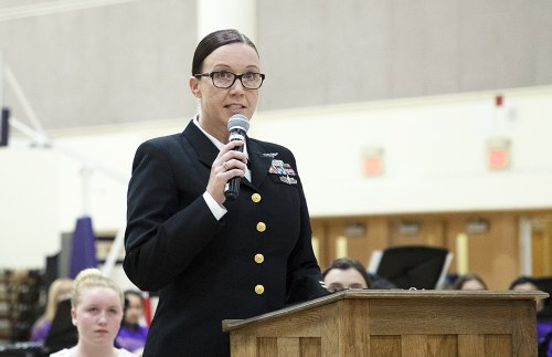 Senior Chief Beverly Ross, from Naval Air Station Lemoore, was a featured speaker Wednesday night.