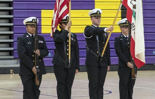 The Lemoore NJROTC Color Guard help open Wednesday's annual Patriotic Concert.