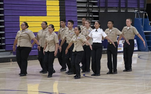 The NJROTC Drill Team performs Wednesday night in the LHS Event Center.
