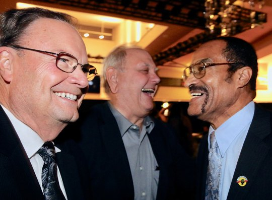 "Former ""Citizens"" Bob Clement (left), Bill Black (center) have a laugh with new Citizen of the Year, Dr. Willie Ewing."