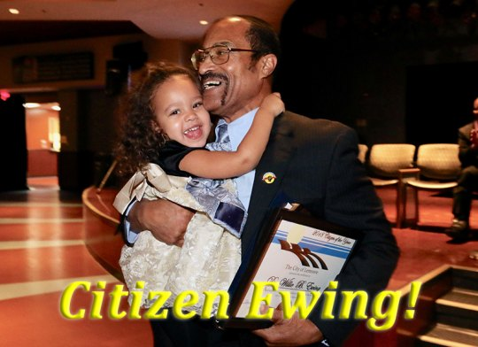 Granddaughter Kya helps Dr. Willie Ewing celebrate as the 2019 Lemoore Chamber of Commerce Citizen of the Year during Friday night's annual Chamber Installation Dinner.