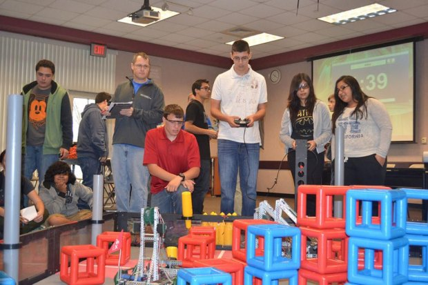 Lemoore High School's Nick Sheldon and Conor Shortnacy compete in Robotics at West Hills College Saturday afternoon.