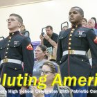 Former NJROTC cadets LCPL Matt Beyersdorf and LCPL Charles Spates stand at attention during 29th Annual Patriotic Concert Nov. 7  in the Event Center.