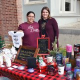 Lakara Warren and Kara Jobe with their wares at the Sarah Mooney Open House.