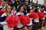 The Lemoore High School Pep Squad with pink pom poms.