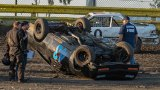 Levi Burgett went from leading his race to rolling his car during Saturday night racing at The Lemoore Raceway and the opening night of the Central Valley Mini Stock season.
