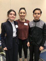 Xitlali Siguenza and Diego Lopez with their teacher, Ms. Ana Llamas. Both students did well at the 3rd Annual Regional Speech and Debate Tournament, with Xitlali finishing first.