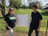 P.W. Engvall 6th grade teacher Suzanne Ross and her student Andre Johnson on Sunday at Johnson's home on the outskirts of Lemoore.
