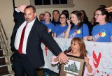 Lemoore Liberty Middle School principal, Ben Luis, celebrates with staff and students after his selection as the Kings County Administrator of the Year Tuesday night at the Kings County Excellence in Education Awards Ceremony.
