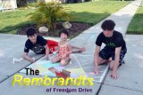 Members of the McDonald Klan, put their artistic skills work, creating street and sidewalk artworks. Left to right are Jason, Elizabeth, and Dylan McDonald.