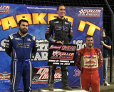 Carson Macedo (top) won big Saturday night at Keller Auto Speedway. With him are Dominic Scelzi (left) and Bud Kaeding.
