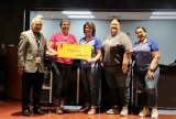Relay for Life organizers show off their Tachi Palace Hotel and Casino check presented to them at monthly community breakfast. (L to R) Florandy Lopez, Santa Rosa rep.), Charlene Cardoza, Lorie Heaten, Jennifer Baze, and Elisa Ramos.