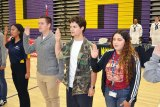 Lemoore High School students take their military oaths as they plan to enter the United States Military upon graduation. Fourteen LHS students are planning on entering the military after high school.