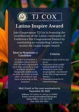 Congressman Cox, in honor of Hispanic Heritage Month, announces Latino Inspire Award