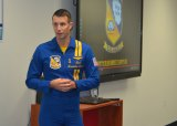 Lt. Cmdr. Brandon Hempler made an early-morning visit to Lemoore's Liberty Middle School to talk up the NAS Lemoore Air Show Saturday and Sunday.