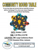 City of Lemoore schedules another Community Round Table Oct. 3 at city complex