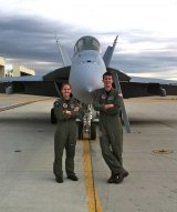 Buddy Marshall and friend Carolyn Work during Hornet training at NAS Oceano in Virginia Beach, Virginia in 2011.
