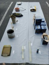 Objects found after suspected narcotics lab fire.