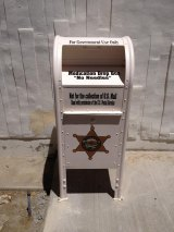 This receptacle can be used to drop off unwanted prescription medications.