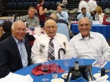 David Baca, left, Julian Mazuka, center, and Frank Bento enjoy dinner and documentary about Honor Flights at West Hills College. Baca and Bento, Mazuka's two sons-in-law, will accompany him on an Honor Flight to see the World War II Memorial.