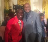 Lemoore's 1968 Olympic champion Tommie Smith in 2016 visited The White House where he met 2016 Paralympic gold medalist champ Jerome Avery, also an LHS grad.