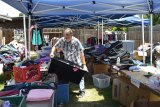 Lemoore Christian Aid's John Benton surveys the outpouring of items to victims of the Tanglewood Apartment fire.