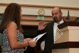 Former CHP Commander Ray Madrigal is sworn in as Lemoore's newest councilmember August 5.