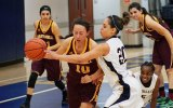 West Hills and Lemoore High standout Taylor Vasquez in a December game against Hartnell College. She scored 18 this week against Porterville College in a 53-50 win.