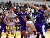 Jaylunn English and Matt Borba defend the basket in Friday night's loss at Hanford.