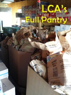 A full pantry at Lemoore Christian Aid thanks to the efforts of local businesses, persons and the U.S. Post Office.