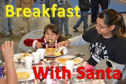Eggs, ham, pancakes and fun were on the menu at the annual Breakfast with Santa event Sunday morning at the Lemoore Municipal Recreation Complex.