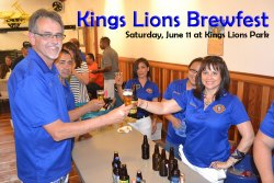 Kings Lions members President Ray Etchegoin and Gina Arcino share a brew.