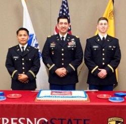 Adrian Dotimas (left) from Lemoore, Maj. Boyce Buckner, and Seth Newark are Fresno State ROTC second lieutenants.