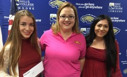 "Lemoore Middle College High School students Alondra Gonzalez and Adeline Rodriguez, pictured with Mary-Catherine Paden (center) earned scholarships from ""Ruiz 4 Students"" program."
