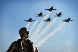 Lemoore Naval Air Station's Aviator Memorial stands outside the navy base's operations area.