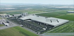 Rendering of the Hanford Faraday Future facility.