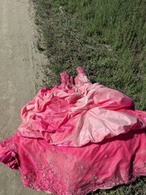Those cleaning up the illegal dump site near Stratford found some unusual items, including this Quinceanera dress used for the celebration of a girl's 15th birthday.