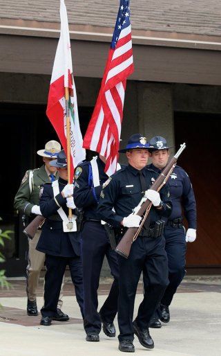 The color guard marches in to Wednesday's Kings County Peace Officers' Memorial.