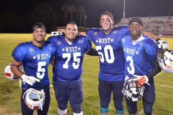 Lemoore football stars Richard Doctor, Adrian Garza, Kameron Gomness and Trenton McGuey helped lead the West to a 28-7 victory Friday night in the Kings-Tulare All Star Football Game.