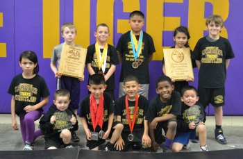 Lemoore's Masters Youth champs: (back row L to R) Marissa Perico, Joshua Rogers, Bubba Ashley, Isaiah Morales, Mariah Perico, Lucas Gonzalves; (back) Ethanial Solorio, Jerry Perico, Daymen Soto, J'Shawn Webster, Sebastian Solorio