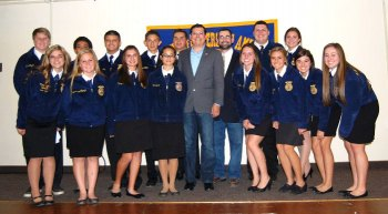 Assemblymember Rudy Salas with Lemoore High School FFA members recently.