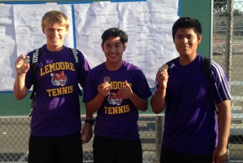 Tigers (left to right) Drew Gobby, Adrian Zamora and Mike Sinaga earned trips to the Central Section Area Meet by finishing second at the West Yosemite League championships.