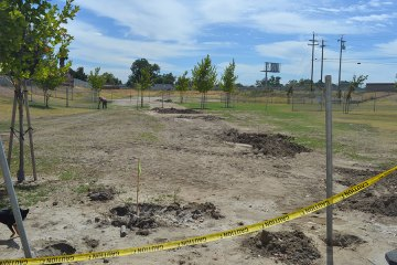 This was the scene of Lemoore's Dog Park just two weeks ago as the city repaired an unsightly water pipe that burst from the ground. The park will open Monday.