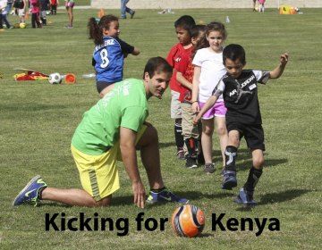 Local youngsters came out for a soccer camp to raise money for a community center in Nairobi, Kenya.