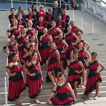 "This Lemoore High Marching Winter Guard, shown here following a performance in Las Vegas, along with other band members and boosters, will take to the streets for a ""Fill the Shako"" fundraising campaign on May 14."