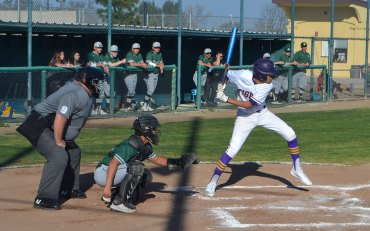 Lemoore's Anfernee Murrieta at the plate Wednesday afternoon as the Tigers lost their first game this season.