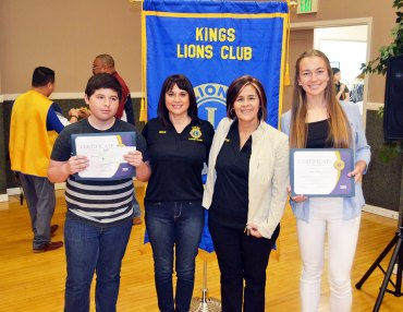 Lions Club Speech Contest winners David Figueroa (2nd place), Lions members Gina Arcino and Pini Etchegoin, and champion Sofie Johnson.