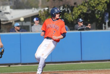 "Jack Foote in a recent game for Fresno Pacific. He earned his second ""Freshman of the Week' baseball award for the Sunbirds."