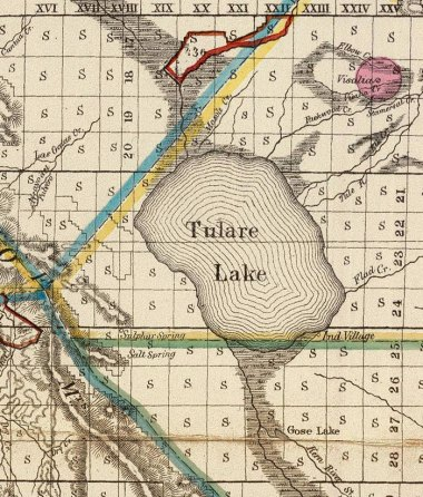 1866 BLM map of Tulare Lake above the 200-foot level, but not actively discharging into Summit Lake and the Fresno Slough.