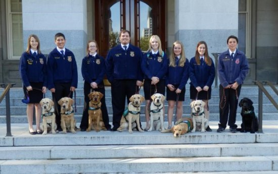 Members of the Lemoore High School FFA Guide Dog Puppy Raising Project, this year's recipient of the Chamber's Organization of the Year.